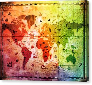 Whimsical World Map 4 Canvas Print by Angelina Vick