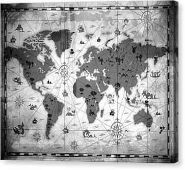 Whimsical World Map Bw Canvas Print by Angelina Vick