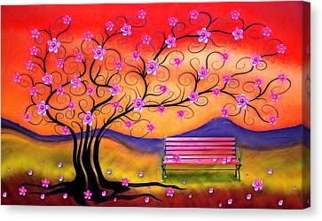 Canvas Print featuring the digital art Whimsy Cherry Blossom Tree-1 by Nina Bradica