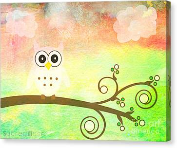 Whimsy Owl Kids Art Canvas Print by Sacred  Muse