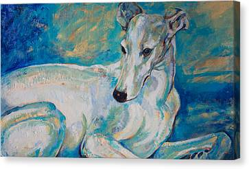 Whippet-effects Of Gravity 4 Canvas Print by Derrick Higgins