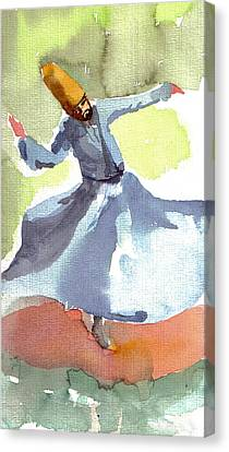 Canvas Print featuring the painting Whirling Dervish by Faruk Koksal