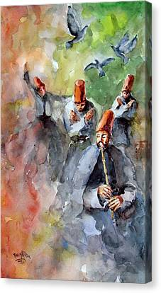 Canvas Print featuring the painting Whirling Dervishes And Pigeons         by Faruk Koksal