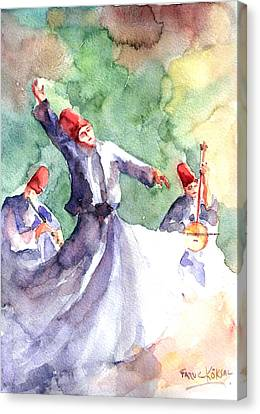 Canvas Print featuring the painting Whirling Dervishes by Faruk Koksal