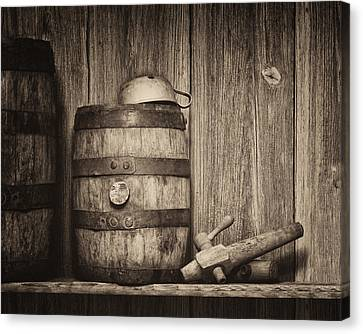 Whiskey Barrel Still Life Canvas Print by Tom Mc Nemar