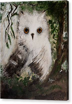 Canvas Print featuring the painting Whisper The Snowy Owl by Barbie Batson