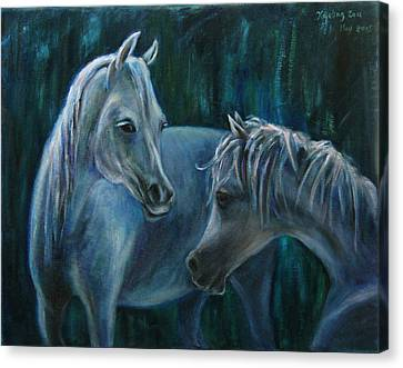 Canvas Print featuring the painting Whispering... by Xueling Zou