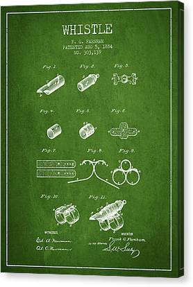 Whistle Patent From 1884 - Green Canvas Print by Aged Pixel