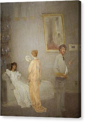 Whistler In His Studio Canvas Print by James Abbott McNeil Whistler