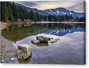 Mountain Reflection Lake Summit Mirror Canvas Print - Whistler Mountain Reflection by James Wheeler