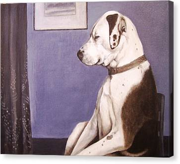 Canvas Print featuring the painting Whistler's Mutt-er by Laura Aceto