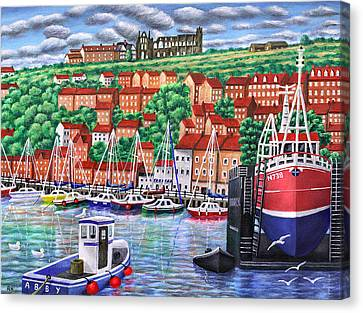 Whitby Harbour Canvas Print by Ronald Haber