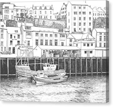 Whitby Harbour Canvas Print by Shirley Miller