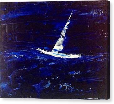 White Boat - Dark Sea And Sky Canvas Print