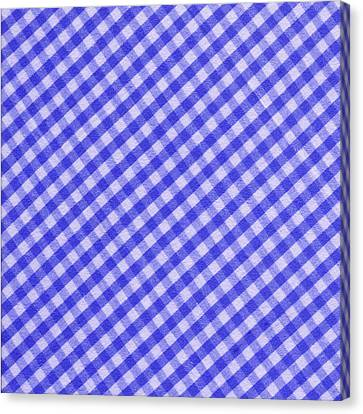 White And Blue Checkered Design Fabric Background Canvas Print by Keith Webber Jr