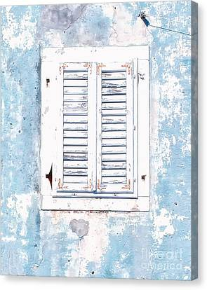 White And Blue Window Canvas Print