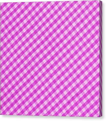White And Pink Checkered Fabric Background Canvas Print by Keith Webber Jr