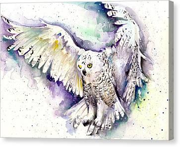White Arctic Polar Owl - Wizard Dynamic White Owl Canvas Print by Tiberiu Soos