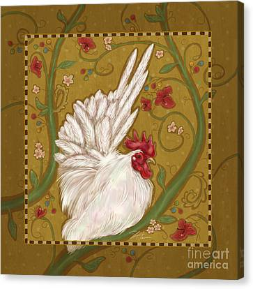 White Bantam Rooster Canvas Print by Shari Warren