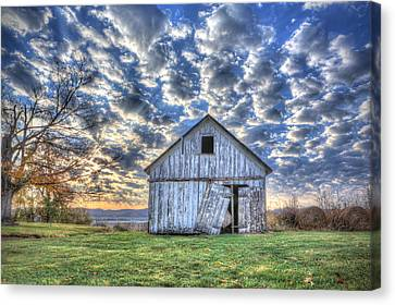 Canvas Print featuring the photograph White Barn At Sunrise by Jaki Miller