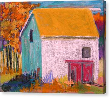 Canvas Print featuring the painting White Barn by John Williams