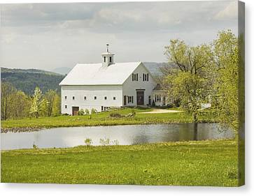 Maine Barns Canvas Print - White Barn On Farm In Maine Fine Art Prints by Keith Webber Jr