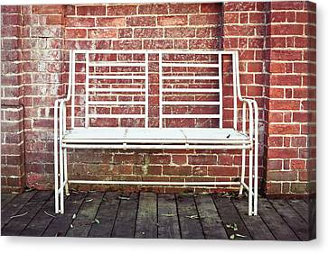 White Bench Canvas Print by Tom Gowanlock