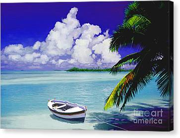 White Boat On A Tropical Island Canvas Print by David  Van Hulst