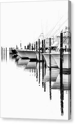 White Boats II - Outer Banks Bw Canvas Print by Dan Carmichael