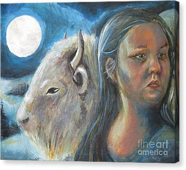 White Buffalo Portrait Canvas Print