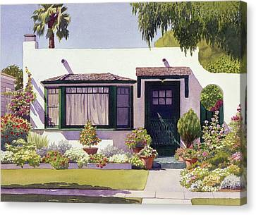 White Bungalow In Coronado Canvas Print by Mary Helmreich