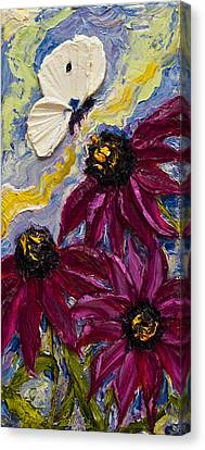 White Butterfly And Purple Flowers Canvas Print by Paris Wyatt Llanso