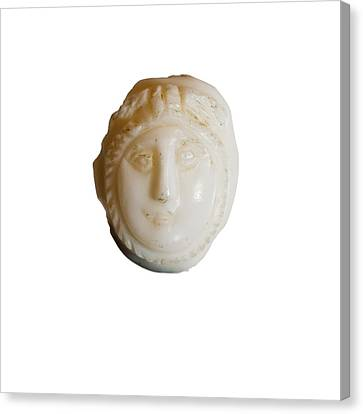 white Cameo mask of Medusa Canvas Print