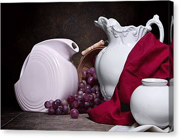 Fabric Canvas Print - White Ceramic Still Life by Tom Mc Nemar