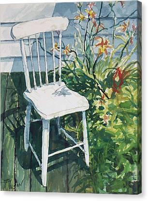 White Chair And Day Lilies Canvas Print by Joy Nichols