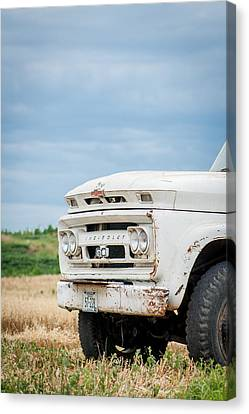 Canvas Print featuring the photograph White Chevy Truch by Dawn Romine