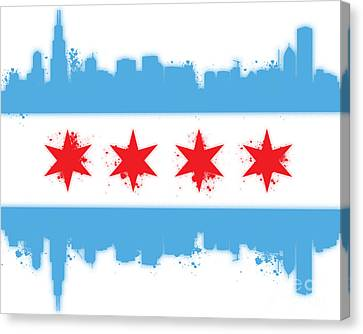 White Chicago Flag Canvas Print