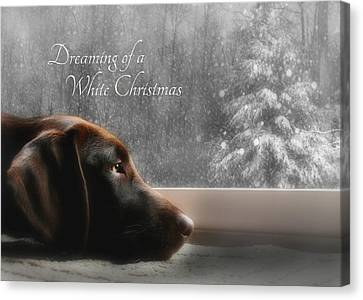 Labradors Canvas Print - White Christmas by Lori Deiter