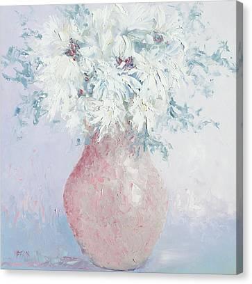 White Chrysanthemums Canvas Print by Jan Matson