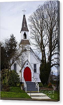 White Church With Red Door Canvas Print