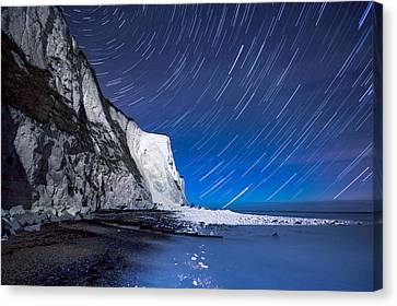 White Cliffs Of Dover On A Starry Night Canvas Print by Ian Hufton