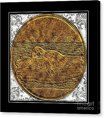 White Coat Seal - Brass Etching Canvas Print