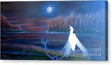 White Crane Dancing In The Light Of The Moon Canvas Print by Kimberlee Baxter