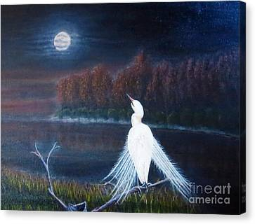 White Crane Dancing Under The Moonlight Cropped Canvas Print by Kimberlee Baxter