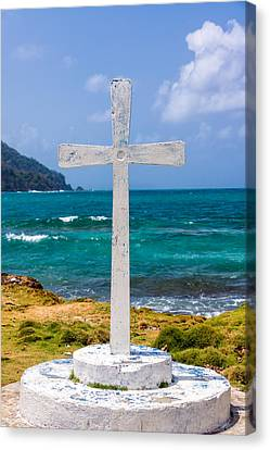 White Cross And Sea Canvas Print by Jess Kraft