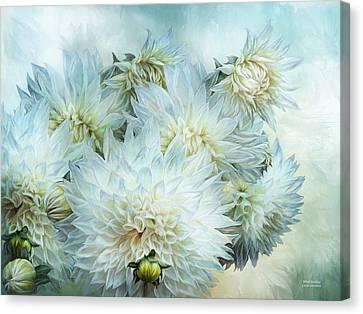 Summer Flowers Canvas Print - White Dahlias by Carol Cavalaris