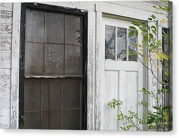 White Door Black Window Screen Canvas Print by Paulette Maffucci