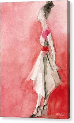 White Dress With Red Belt Fashion Illustration Art Print Canvas Print by Beverly Brown