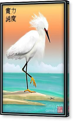 White Egret On Beach Canvas Print by John Wills
