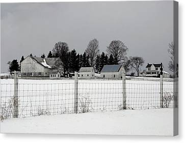 Canvas Print featuring the photograph White Farm On A Gray Day  by Gene Walls